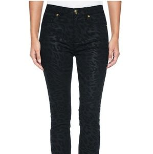 Jacquard jeans with leather inserts on the sides